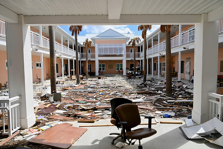 This photo shows the severe damage to one of the academic buildings at the University of Bahamas-North on Grand Bahama Island. (MTSU photo by Andrew Oppmann)