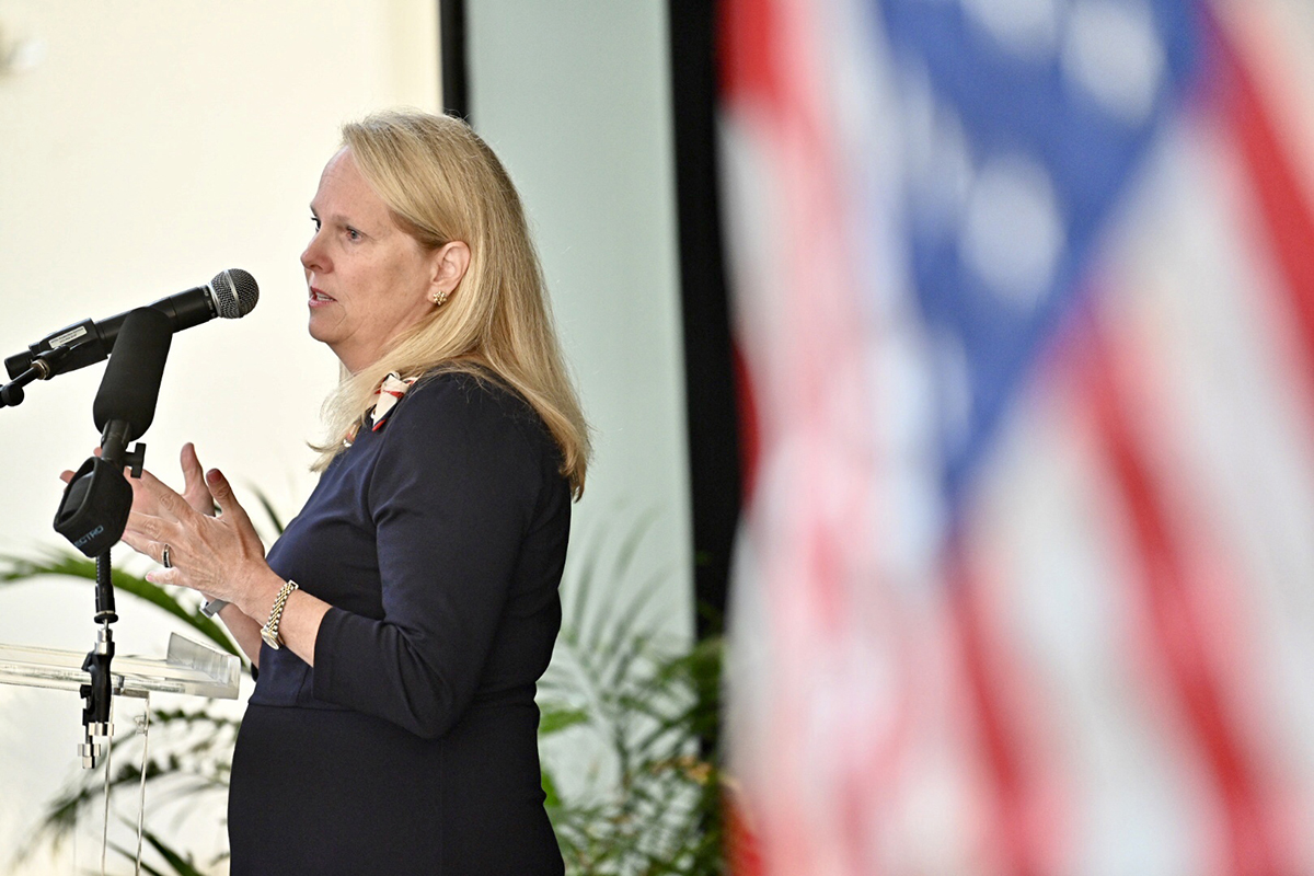 "For the first time publicly, Jennifer Vedral-Baron shares her 9/11 story at the fifth annual MTSU 9/11 Remembrance, held in the Miller Education Center atrium. Her story included ""12 hours of not knowing what was going on with my daughter (Kelsey)"" after the series of attacks on U.S. soil that day. THEC Executive Director Mike Krause and Murfreesboro Mayor Shane McFarland also were guest speakers. (MTSU photo by J. Intintoli)"