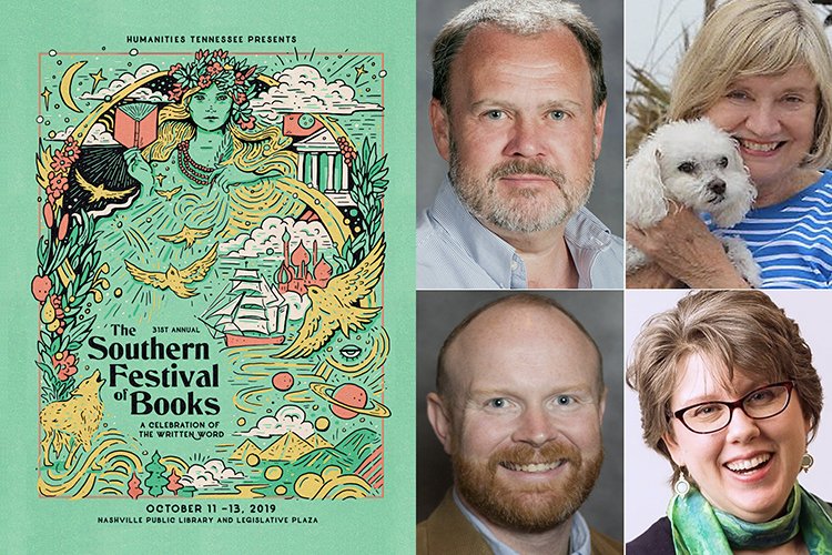 2019 Southern Festival of Books poster with MTSU-affiliated participants clockwise from center left: MTSU English professor Gaylord Brewer, author and MTSU language professor emerita Juen Hall McCash, alumna, author and Murfreesboro poet laureate Kory Wells, and alumnus and IngramSpark business development manager Josh Floyd.