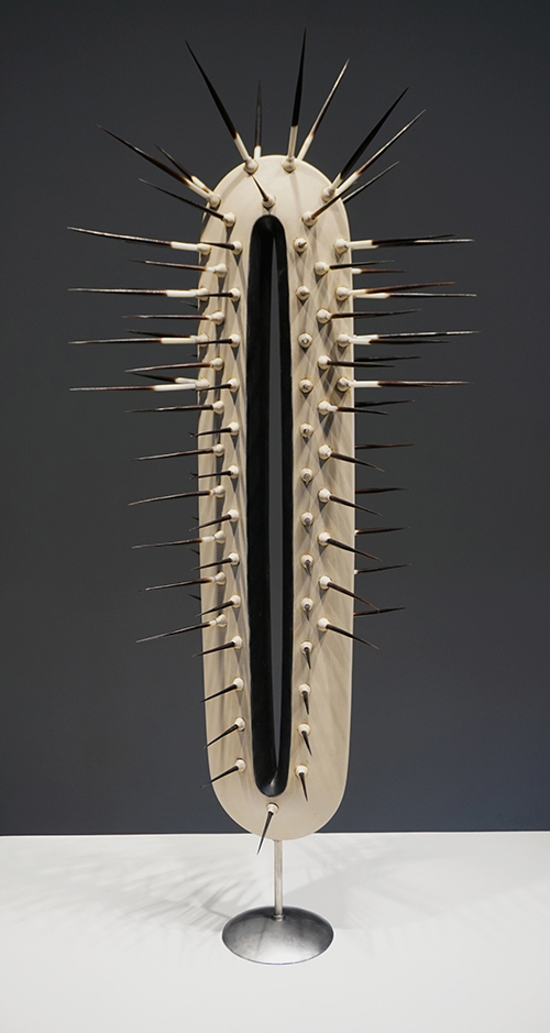 """Lady-Like"" by MTSU art professor Michael Baggarly. 3D-printed polylactic acid, porcupine quills and stainless steel; 26 inches by 12 inches by 9 inches; 2019. Baggarly's piece is among the works selected for the 2019 Irene Rosenzweig Biennial Juried Exhibition at The Arts and Science Center for Southeast Arkansas (ASC) in Pine Bluff, Ark. The exhibition runs from Oct. 10, 2019, through Jan. 4, 2020. (Photo courtesy of The Arts and Science Center for Southeast Arkansas)"