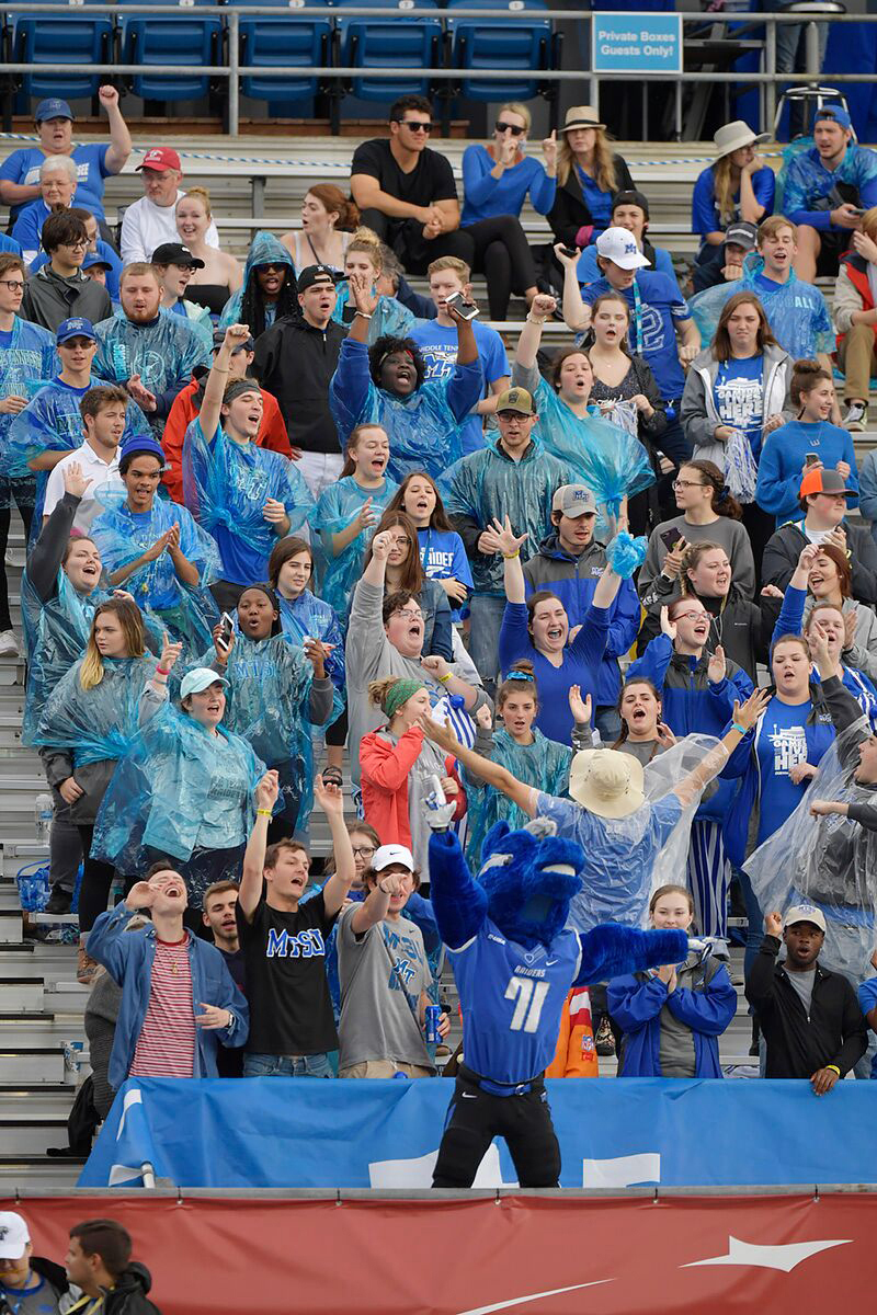 Blue Raiders' mascot Lightning helps fans get in the spirit during MTSU's 50-17 victory against visiting Florida International in Floyd Stadium during the annual MTSU Homecoming Game. (MTSU photo by Andy Heidt)