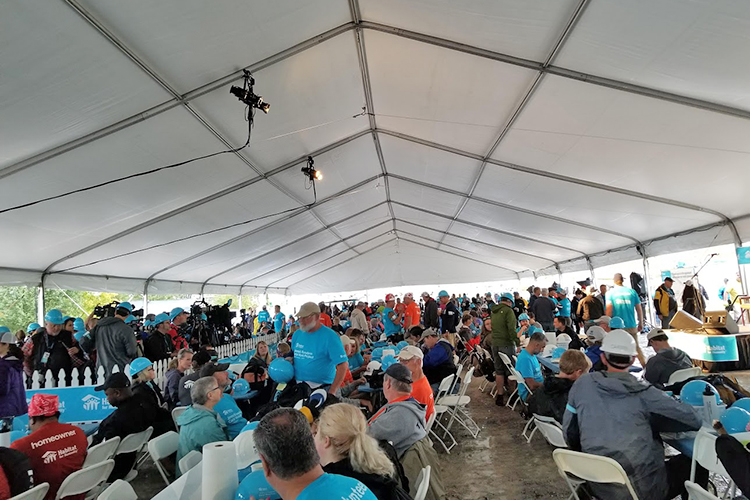 Hundreds of volunteers gathered Oct. 7 at the site of the Carter Work Project 2019 Habitat for Humanity build in Nashville, Tenn. (Submitted photo)
