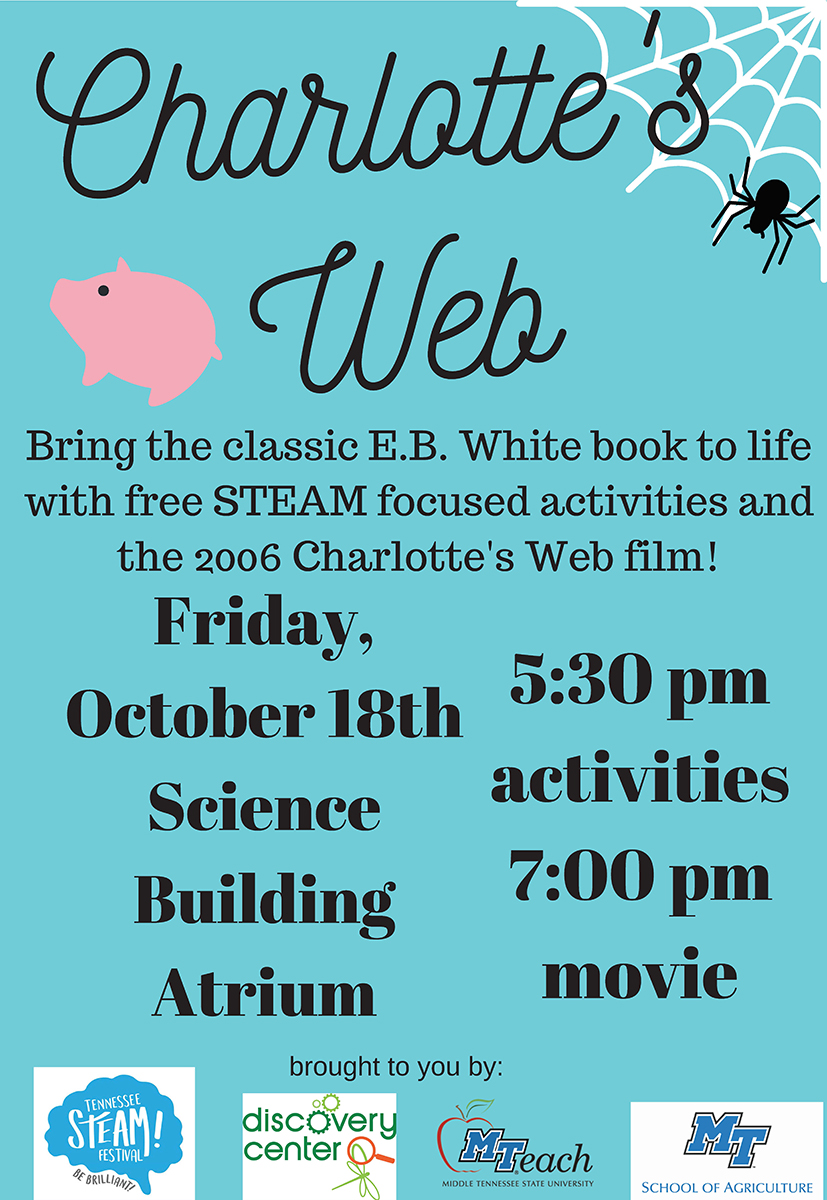 """Charlotte's Web"" family night graphic"