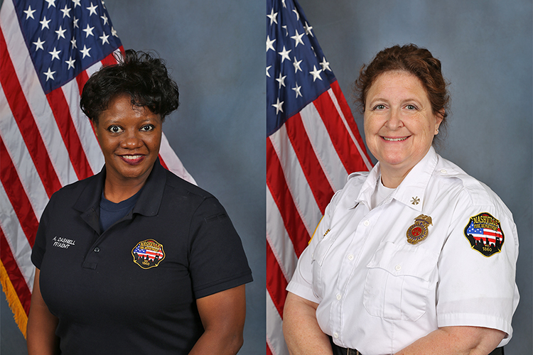 Nashville Fire Department employees Ann Dashiell, left, and Alana Brown, right,