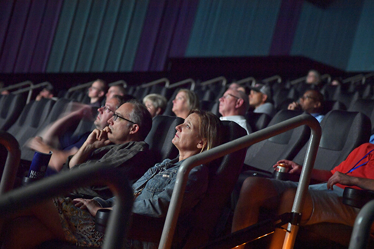 """Audience members watch the documentary """"Homemade,"""" following a screening of the film Thursday, Oct. 10, at Regal Hollywood 27 as part of the Nashville Film Festival. MTSU is a festival sponsor. (MTSU photo by James Cessna)"""