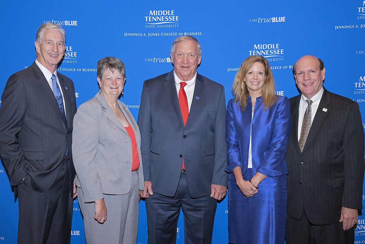 """Three longtime insurance professionals were inducted into the Robert E. Musto Tennessee Insurance Hall of Fame at MTSU during a Sept. 12 ceremony at the Embassy Suites Hotel and Conference Center in Murfreesboro. Pictured, from left, are Dave Wood, chairholder, Martin Chair of Insurance; 2019 inductees Mary Francis Miller of Nashville; William """"Dick"""" Williams of Crossville; and Julie Mix McPeak of Nashville; and David Urban, dean, Jennings A. Jones College of Business. (MTSU photo by Cat Curtis Murphy)"""