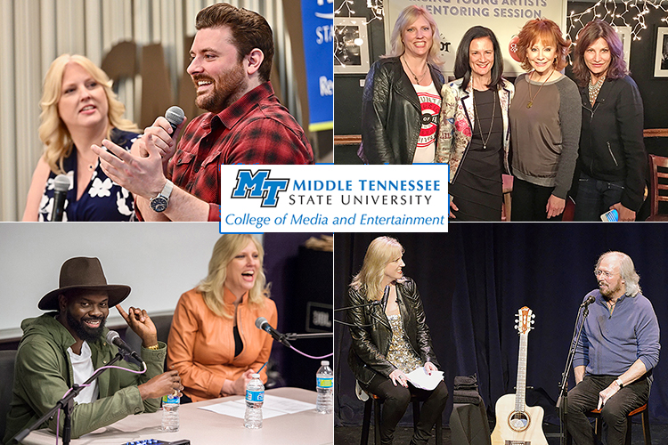 Newly announced MTSU College of Media and Entertainment Dean Beverly Keel, an MTSU alumna and current chair of the college's Department of Recording Industry, is shown in file photos from part of her campus career, including, clockwise from upper left, with former student and multiplatinum country artist Chris Young in July 2019, her