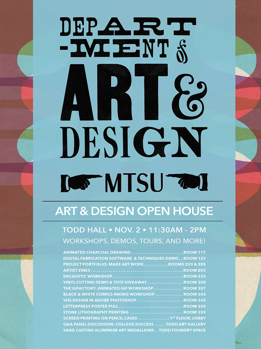 MTSU 2019 Art and Design open house poster