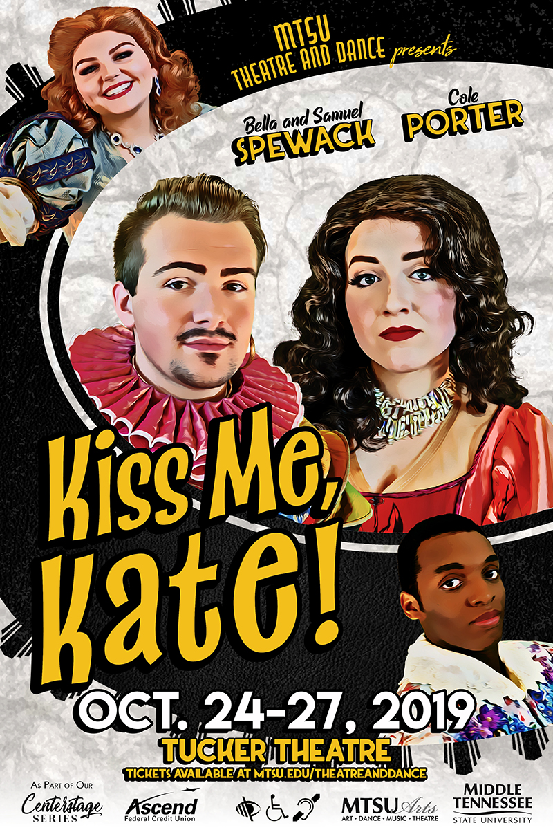"MTSU Theatre poster for fall 2019 production of ""Kiss Me Kate"""