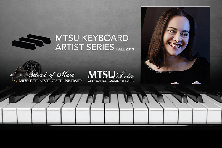 Promo for Daria Rabotkina's Oct. 18 concert continuing the fifth season of the MTSU School of Music's Keyboard Artist Series in Hinton Hall inside the Wright Music Building.