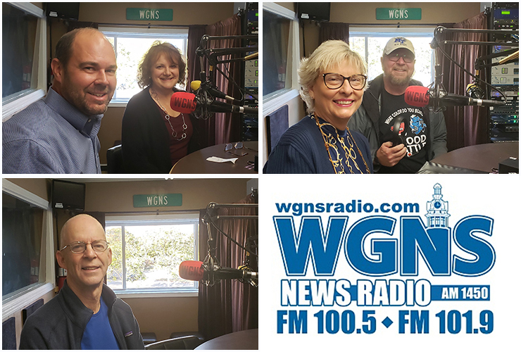 MTSU faculty and staff appeared on WGNS Radio recently to share information with host Bart Walker. Pictured are, top left, from left, University College's John Burchfield, director of finance and administration, and Peggy Carpenter, assistant dean; top right, Diane Turnham, , senior associate athletic director, and Ray Wiley, associate director of MTSU Campus Recreation; and bottom left, Hunter Moore, a doctoral student in public history. (MTSU photo illustration by Jimmy Hart)