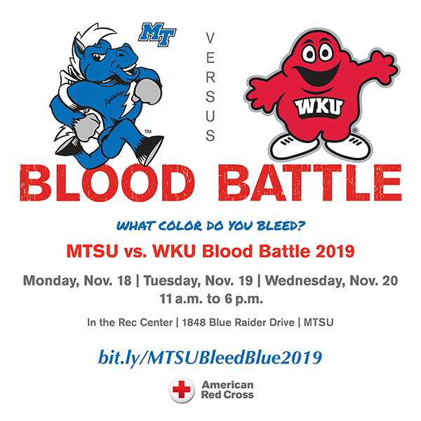 """Bleed Blue, Beat WKU"" 2019 blood-drive competition graphic"