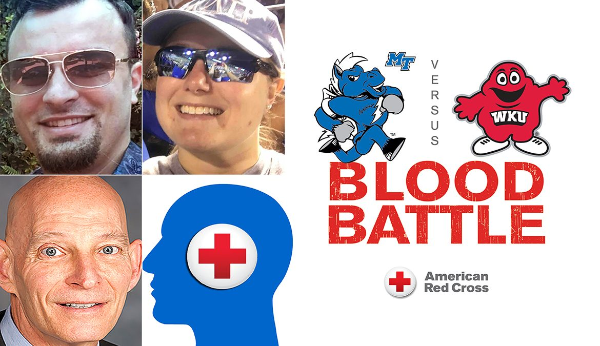 "MTSU alumni Shane Blissard, left, and Danielle Boyd-Garrett, right, and retired U.S. Army Lt. Gen. Keith Huber, lower left, are three MTSU community members who are encouraging the community to donate blood Nov. 18-20 at MTSU's annual ""Bleed Blue, Beat WKU"" blood drive."