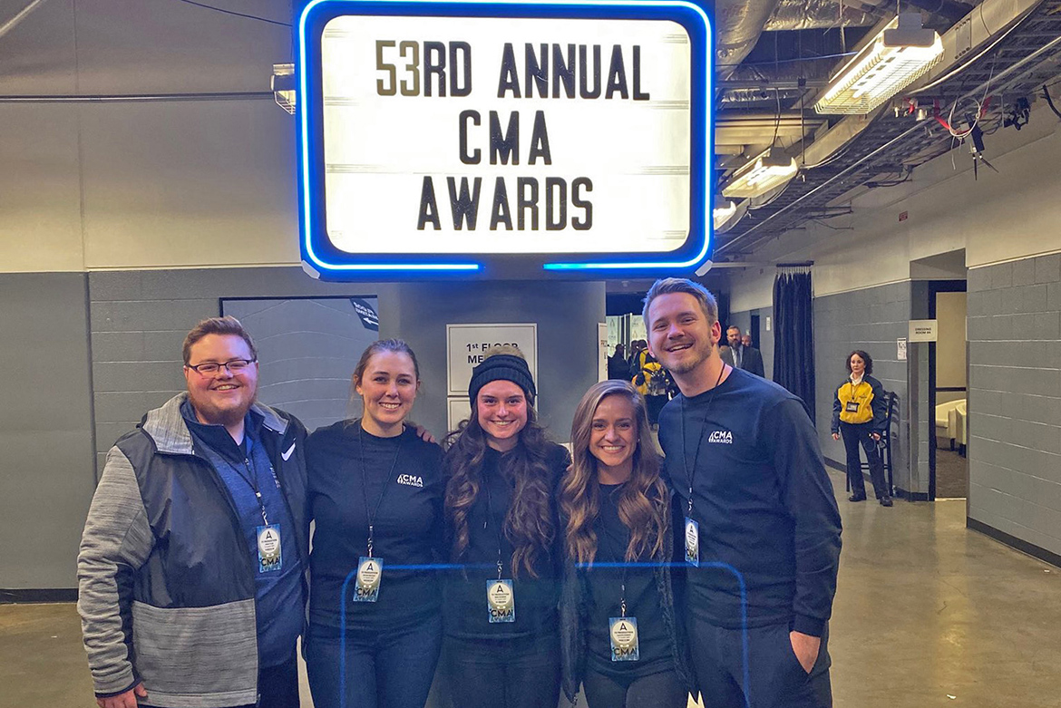 A group of MTSU media arts students helped with the production and telecast of the 53rd annual Country Music Awards held recently at Bridgestone Arena in Nashville, Tenn. Pictured inside the arena, from left, are students Ryan Tyler, Jessica Sullivan, Brea Robbins, Kaitlyn Runion, and Austin Forsberg. (Submitted photo)