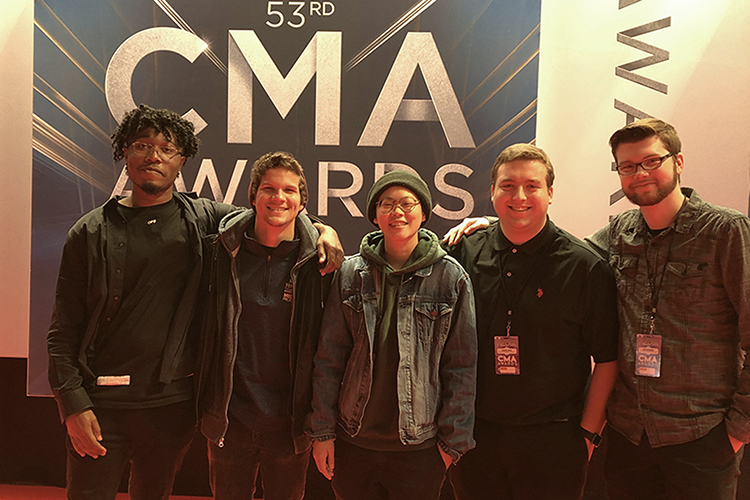 A group of MTSU media arts students helped with the production and telecast of the 53rd annual Country Music Awards held recently at Bridgestone Arena in Nashville, Tenn. Pictured inside the arena, from left, are students Kendrick Howard, Jo Litzenberger, Jess Wong, Dakota Russ, and Seth Sanders. (Submitted photo)