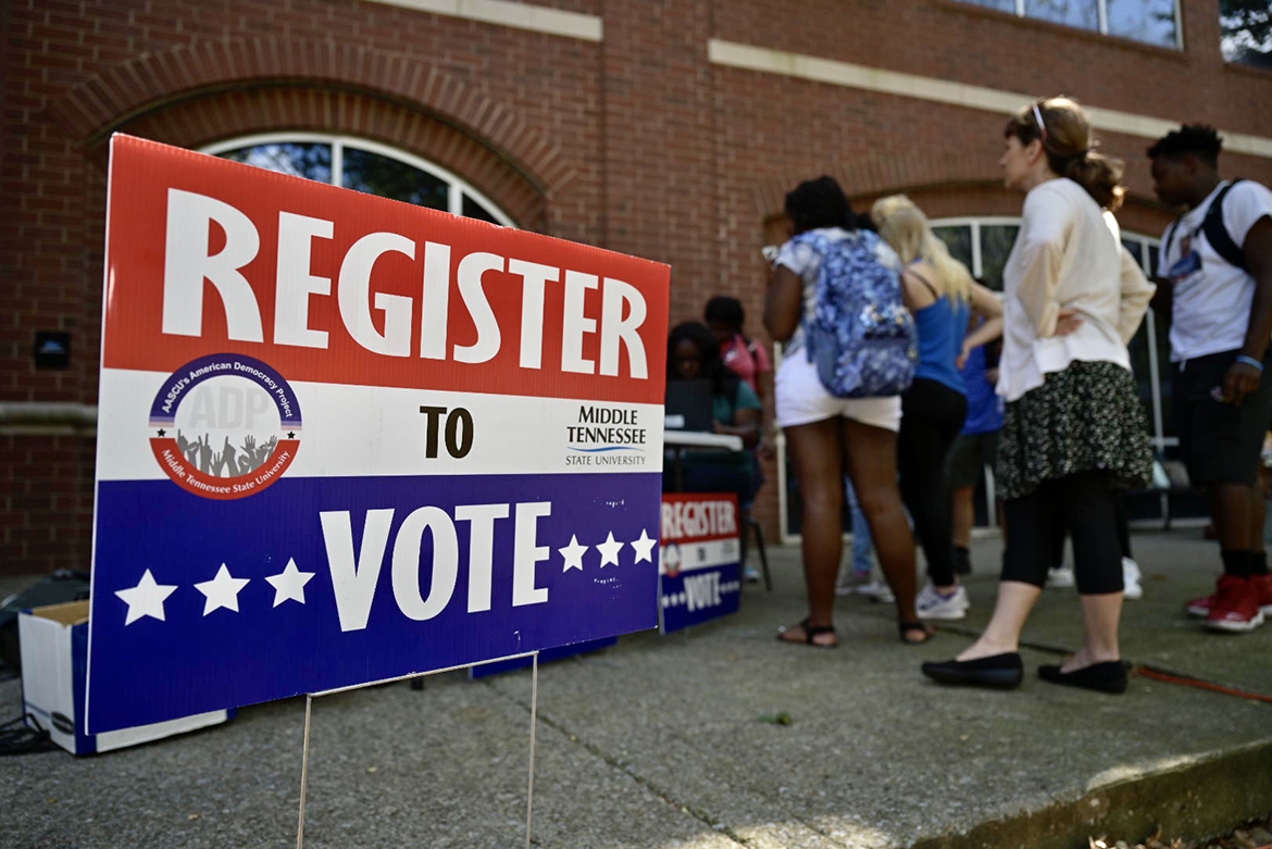 This voter registration table was among multiple locations set up Tuesday, Sept. 17, across campus as part of MTSU 2019 Constitution Day celebration. (MTSU photo by Andy Heidt)