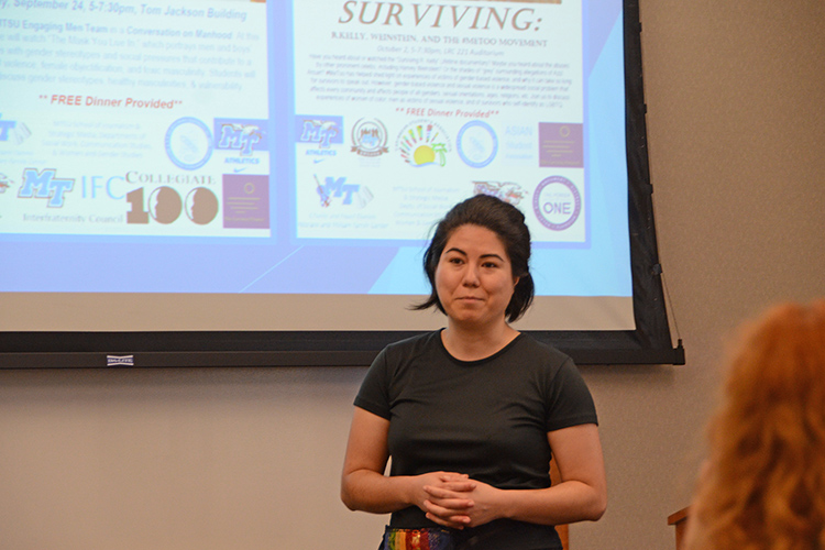 Kelly Hill, Power of One prevention coordinator with the June Anderson Center for Women and Nontraditional Students, provides an update during the September 2019 meeting of the Campus Comprehensive Response Team, whose members include faculty and staff, that guides students to various resources related to sexual assault prevention, working with law enforcement and engaging men in combatting gender-based violence. (MTSU photo by Jimmy Hart)