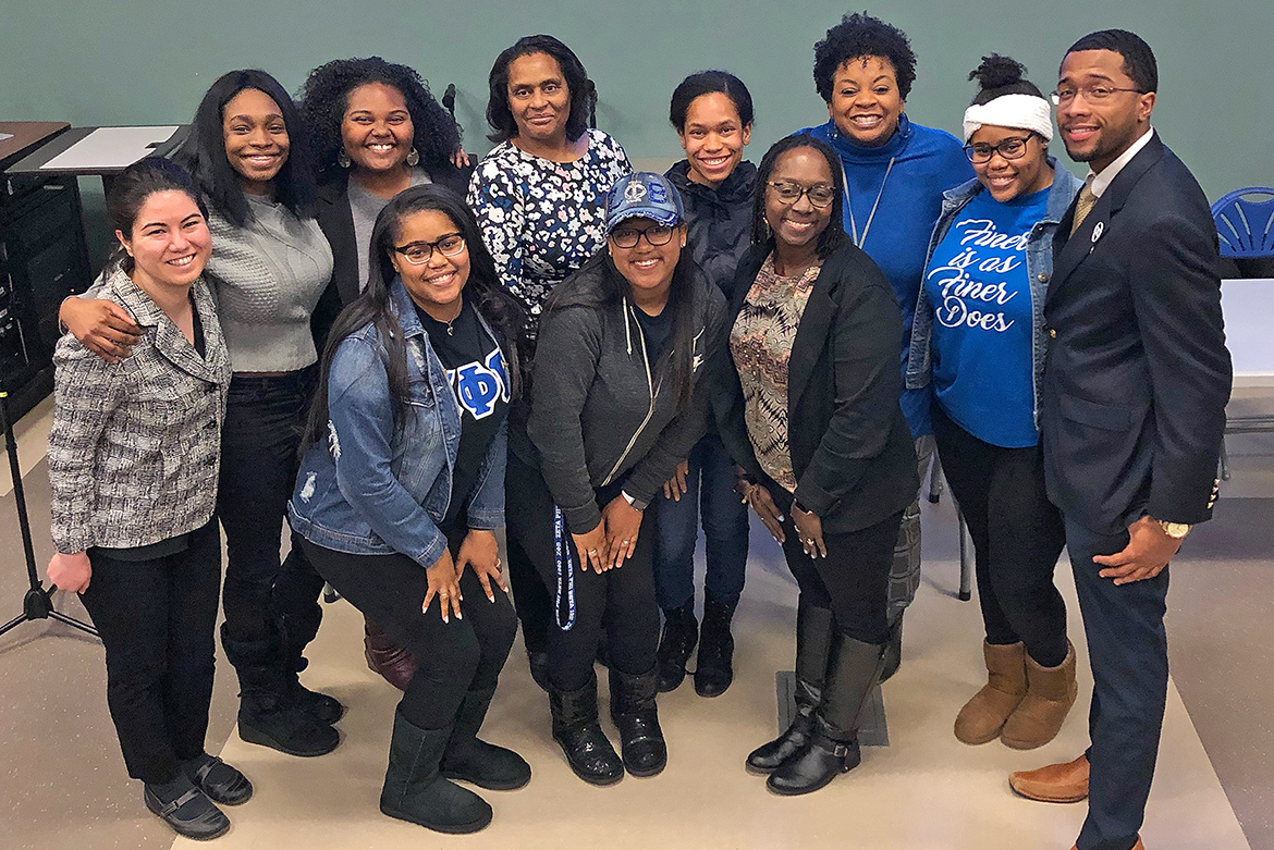 "In this February 2019 photo, Kelly Hill, far left, Power of One prevention coordinator, is pictured with faculty, staff and student supporters of the campus screening of ""The Rape of Recy Taylor"" as part of the university's Black History Month events. (Submitted photo)"