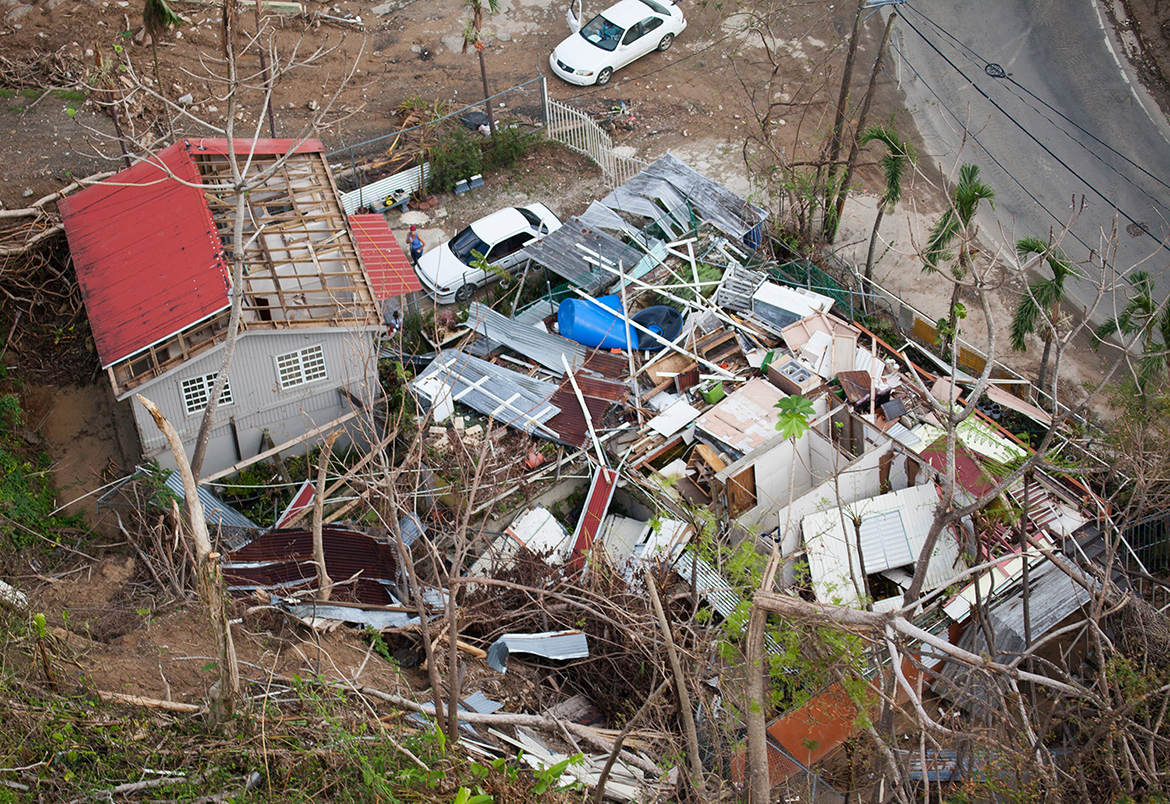 Naranjito, Puerto Rico -- Aerial view of a damaged home in the mountainous area of Naranjito, Puerto Rico. After Hurricane Maria, many homes, businesses, roads, bridges, and government buildings suffered major damage from strong winds and heavy rain. (Photo courtesy of Andrea Booher/Federal Emergency Management Agency)