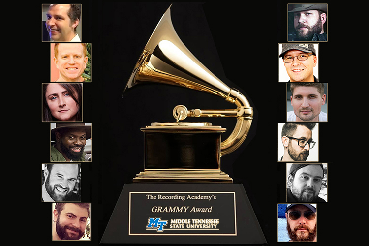"MTSU alumni who are nominees or part of a nominated project in the 62nd annual Grammy Awards, which will be presented Sunday, Jan. 26, in Los Angeles, include, from top left, John Baldwin, Tony Castle, Erin Enderlin, Torrance ""Street Symphony"" Esmond, Jason A. Hall and Billy Hickey; and from top right, Jeff Hyde, Luke Laird, Jimmy Mansfield, Sean McConnell, Aaron Raitiere and F. Reid Shippen."