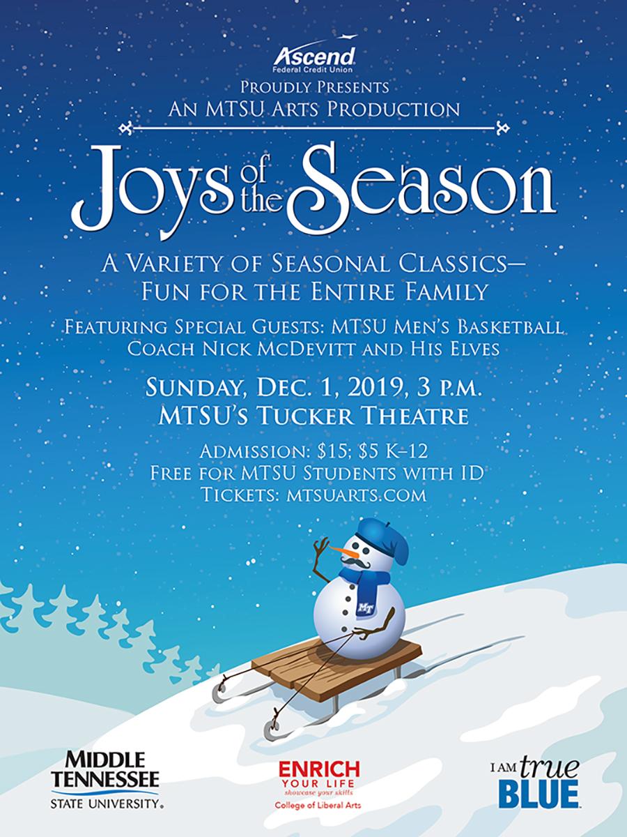 MTSU Joys of the Season 2019 poster