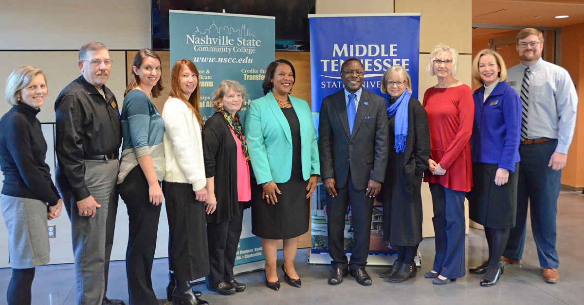 "Administrators from MTSU and Nashville State Community College gathered following a ""True Blue Pathway"" signing with Nashville State Nov. 20, at Nashville State's main campus on White Bridge Road in Nashville. From left are Nashville State's Karen Stevenson, Brad Corcoran, Sarah Roberts, Kim Silverman, Carol Martin-Osorio and President Shanna L. Jackson; and MTSU President Sidney A. McPhee, Deb Sells, Nashville State's Cindy Waller, MTSU's Linda Olsen and Mark Murphy. (MTSU photo by Randy Weiler)"