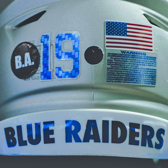 The MTSU Blue Raiders are honoring former player Brandon Archer with a custom decal on the back of their helmets. Archer drowned in early September during a canoe trip on the Buffalo River. (Photo by MT Athletic Communications)