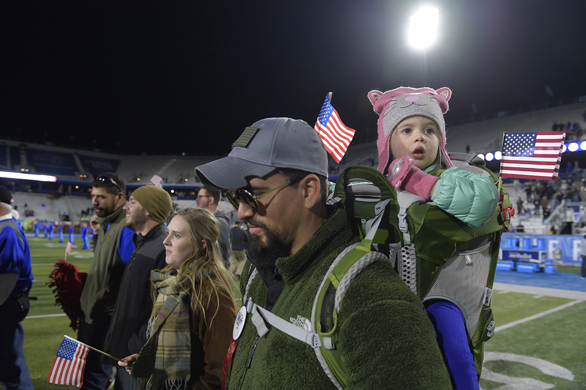 Military veterans and their families were again honored as they walked across Horace Jones Field in Floyd Stadium at halftime Saturday, Nov. 16, as part of the 38th Salute to Veterans and Armed Forces game activities. (MTSU photo by James Cessna)