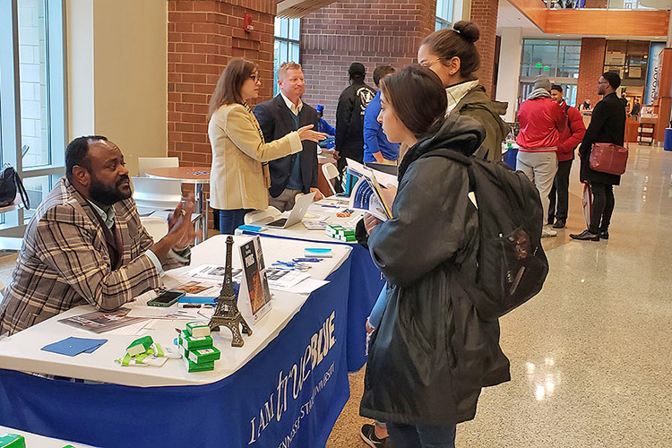 MTSU students talk to advisors at the 2018 Study Abroad Fair held in the Student Union atrium. The 2019 fair will be held Wednesday, Nov. 13, in the same location. (MTSU file photo by Jimmy Hart)