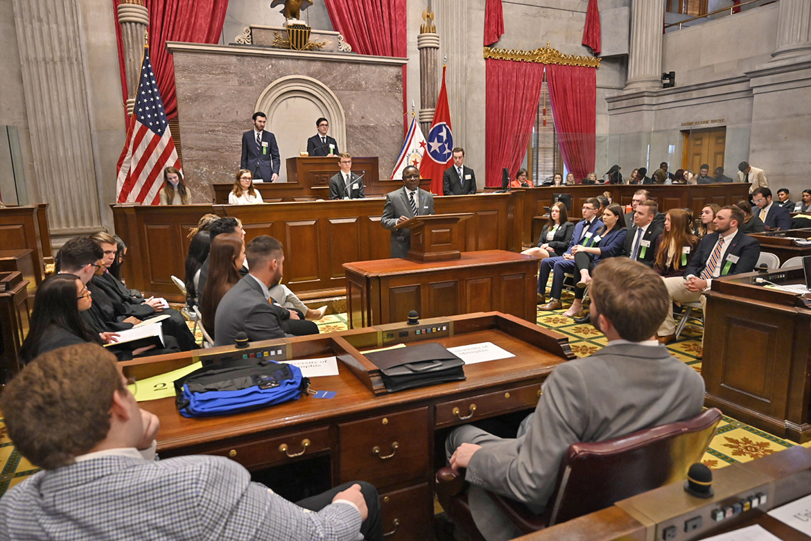 MTSU President Sidney A. McPhee delivers the keynote address at Thursday's opening session of the 2019 Tennessee Intercollegiate State Legislature on the floor of the House chamber at the State Capitol in Nashville, Tenn. (MTSU photo by Andrew Oppmann)