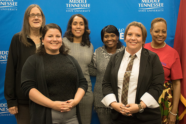 Honorees at the inaugural Women Warriors Celebration, held Tuesday night, Nov. 5, on the MTSU campus, gather for a group photo. From left are Beverly Henley, Brittany Dinaso, Teresa Carter, Anita Herron, Tabatha Wadford and Marcia Rambert, who attended on behalf of Lesa Prime. AAUW-Murfreesboro and multiple MTSU organizations co-sponsored the event. (Photo courtesy of AAUW-Murfreesboro)