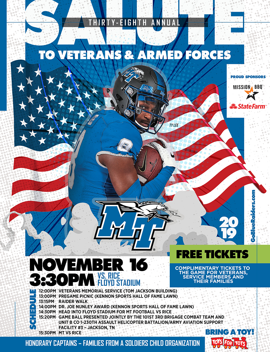 MTSU Salute to Veterans and Armed Services 2019 flyer
