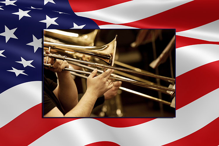 file photo of waving flag with a public-domain photo of musicians' hands playing trombones