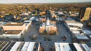 An aerial view of Murfreesboro's downtown square