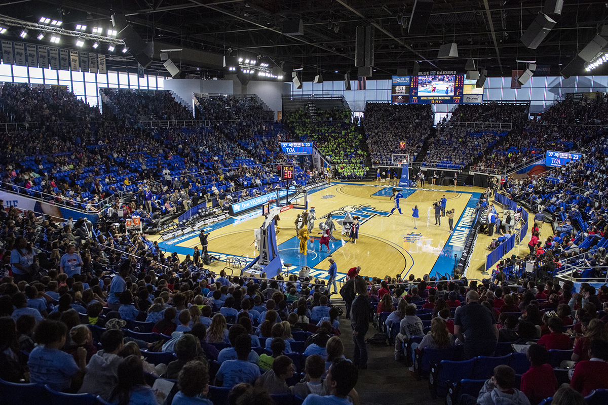The 2019 Education Day basketball for Murfreesboro City Schools brought a large crowd to Murphy Center. The students and fans cheered the MT Lady Raiders to victory as they defeated visiting Lipscomb University, 64-42.