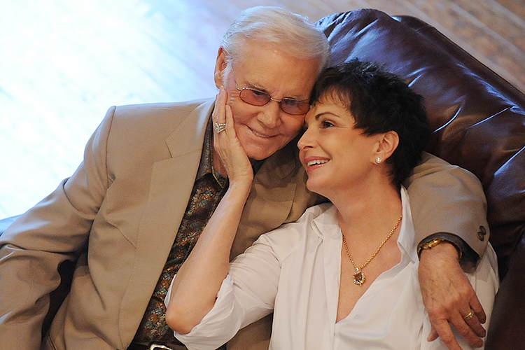 "Country music legend George Jones and his wife, Nancy, are shown in this 2010 publicity photo. Nancy Jones, who established a scholarship at MTSU for Department of Recording Industry majors shortly after her husband's 2013 death, discussed her husband's music and their 30-plus years of adventures in the entertainment industry during a recent campus visit prompted by the sixth year of the university's experiential learning class, ""The Life and Music of George Jones."" (Photo courtesy of Rick Diamond/Getty Images)"