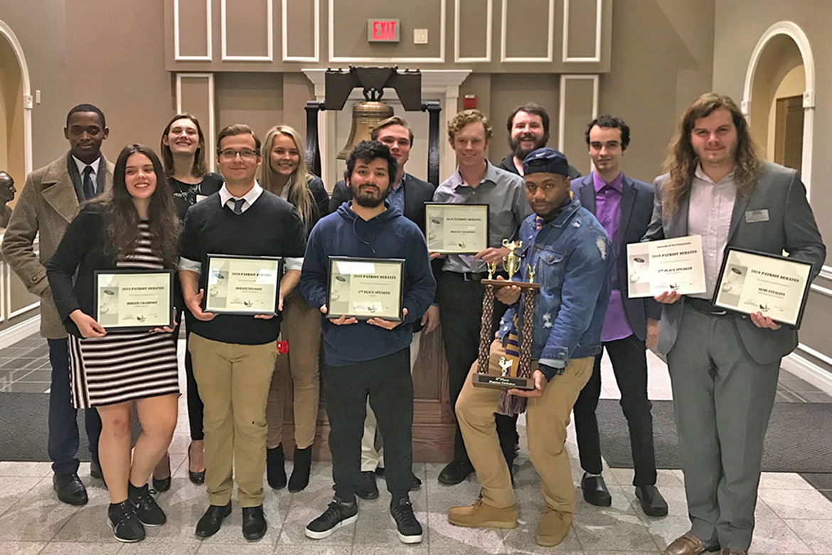 The MTSU Debate Team won the Junior Varsity Division at the University of the Cumberlands tournament, which took place Nov. 8-9 in Williamsburg, Kentucky. Pictured from left, front row, are Anastasia Ortiz, Graham Christophel, Carlos Powell, Kaelon Cage, and Christopher Cowherd. From left, back row, are Winton Cooper, Hannah Rowland, Haley Bobo, Luke Arnold, Levi Jaeger, alumnus Joshua Hendricks, and Collin Dyer. (Photo submitted)