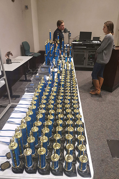 An array of awards awaited successful debaters at MTSU's 2019 debate tournament, which was held on campus Nov. 1-2. (Photo submitted)