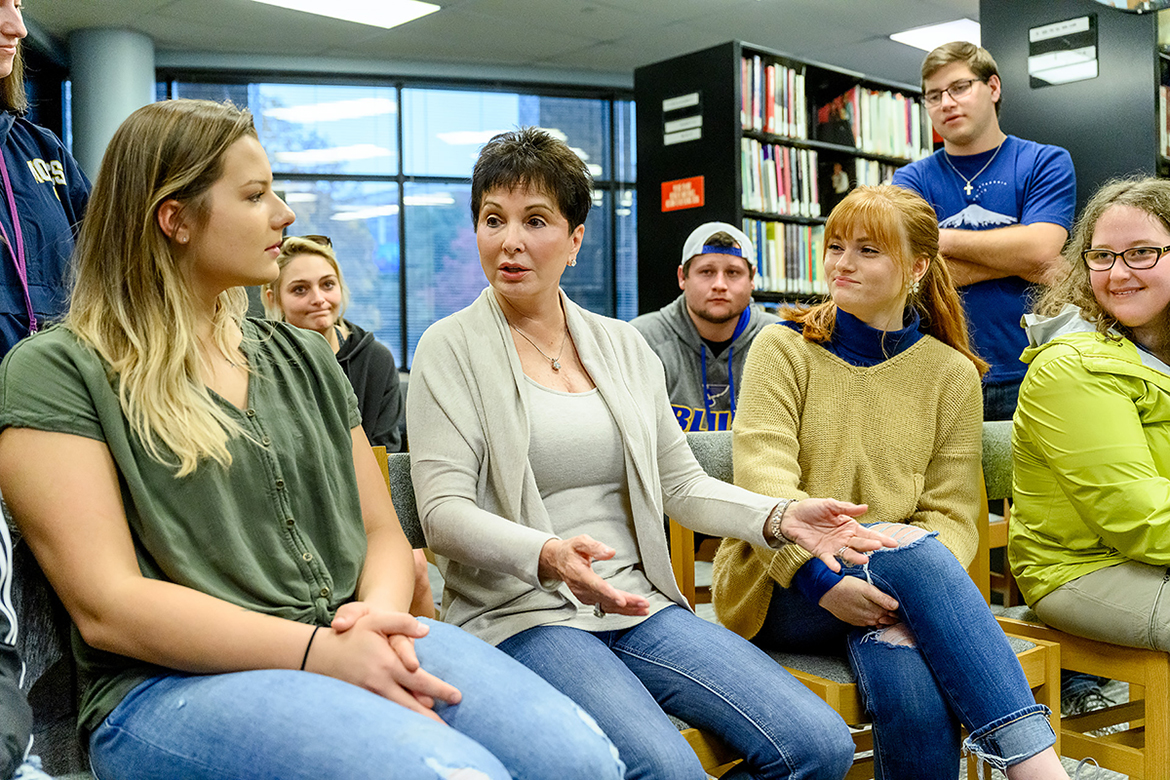 Nancy Jones, center, wife of the late country music icon George Jones, answers a question from MTSU junior Megan Johnson, left, while junior Georgia Brown and fellow recording industry students listen in the Center for Popular Music during a special campus visit. Jones, who established a scholarship at MTSU for Department of Recording Industry majors shortly after her husband's 2013 death, discuss her husband's music and their 30-plus years of adventures in the entertainment industry. (MTSU photo by J. Intintoli)