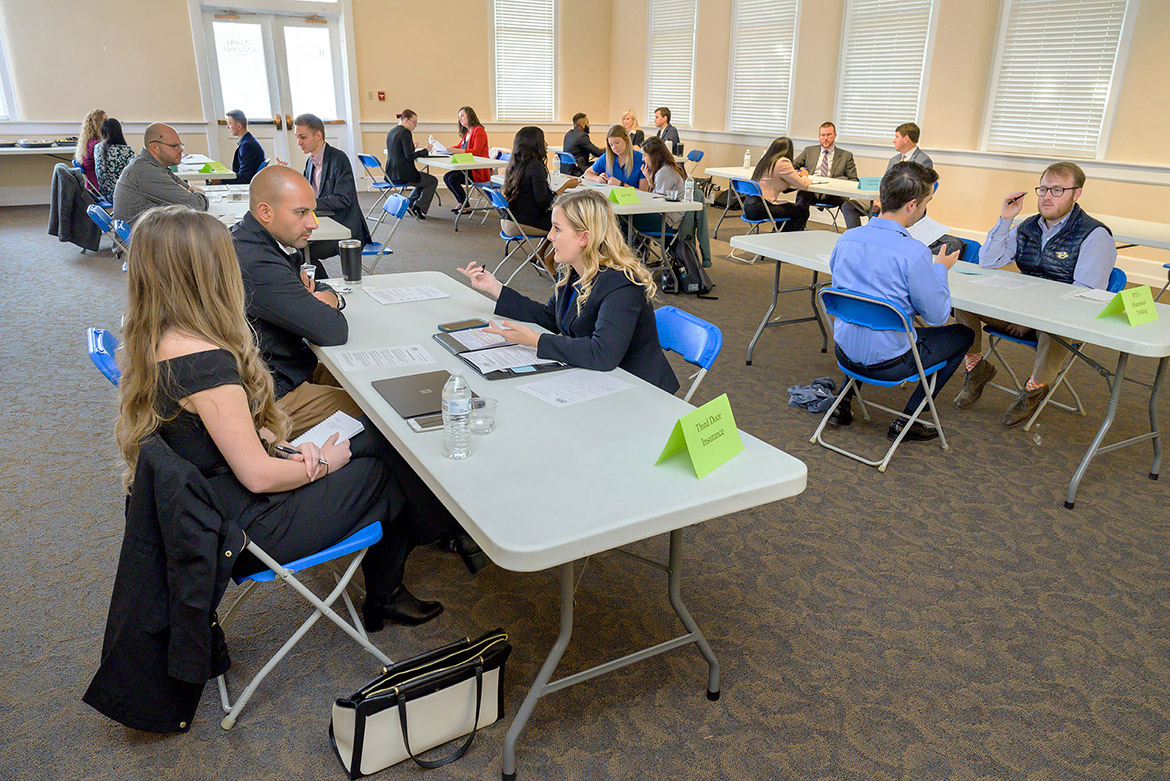 Students in the Department of Marketing's Advanced Selling course participate in the Fall 2019 Speed Selling Event held Nov. 19 inside the Tom H. Jackson Building. The students were given five minutes to make their best sales pitch to participating companies. (MTSU photo by Andy Heidt)