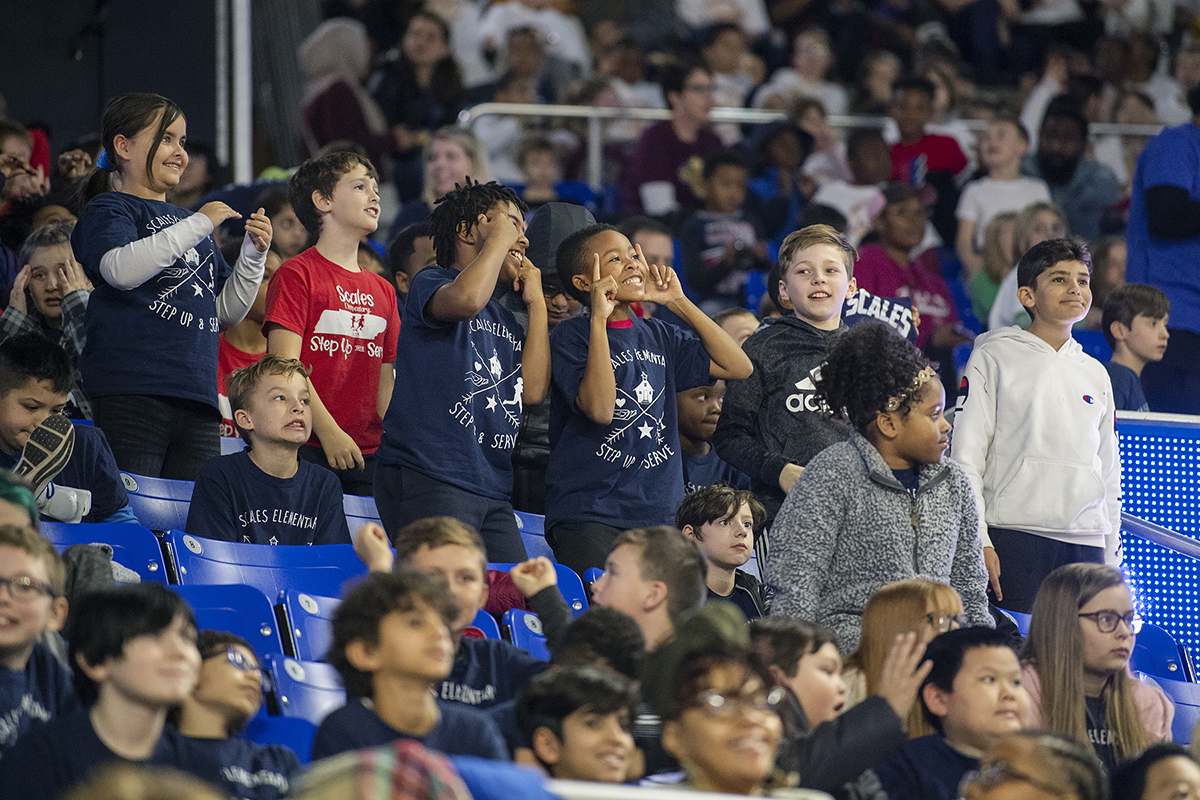 Students from Scales Elementary School had fun making faces and cheering on the MTSU Lady Raiders during their 63-42 Education Day victory against visiting Lipscomb University in Murphy Center Wednesday, Dec. 4. (MTSU photo by Andy Heidt)