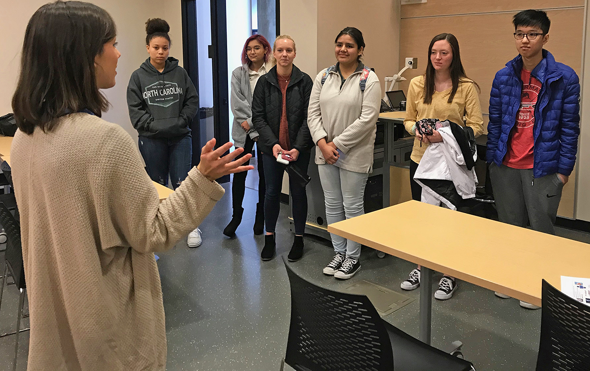 MTSU sophomore Grace Millican, left, of Millington, Tenn., gave a Science Building tour to part of a group of 27 students on campus in November for the annual Chemistry Scholarship Tournament. Participants included Madison Padmore, left, of Rockvale High School, Raisa Candelario of Middle College at Austin Peay State University, Chandler Shipp and Lizbeth Lozano of Central Magnet School and Emily Tester and Ben Lam of Waverly (Tenn.) Central High School. Millican, an Honors Buchanan Fellow, is a biochemistry and Honors organizational chemistry double major. (MTSU photo by Randy Weiler)