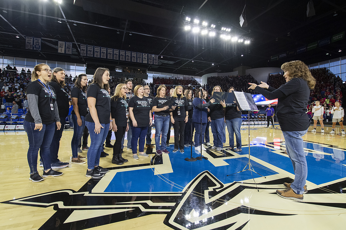 Singers from the Murfreesboro City Schools' Music Team provided the national anthem before the start of the MTSU-Lipscomb women's basketball game Wednesday, Dec. 4, in Murphy Center. It marked the 2019 Education Day game for thousands of City Schools' students. (MTSU photo by Andy Heidt)