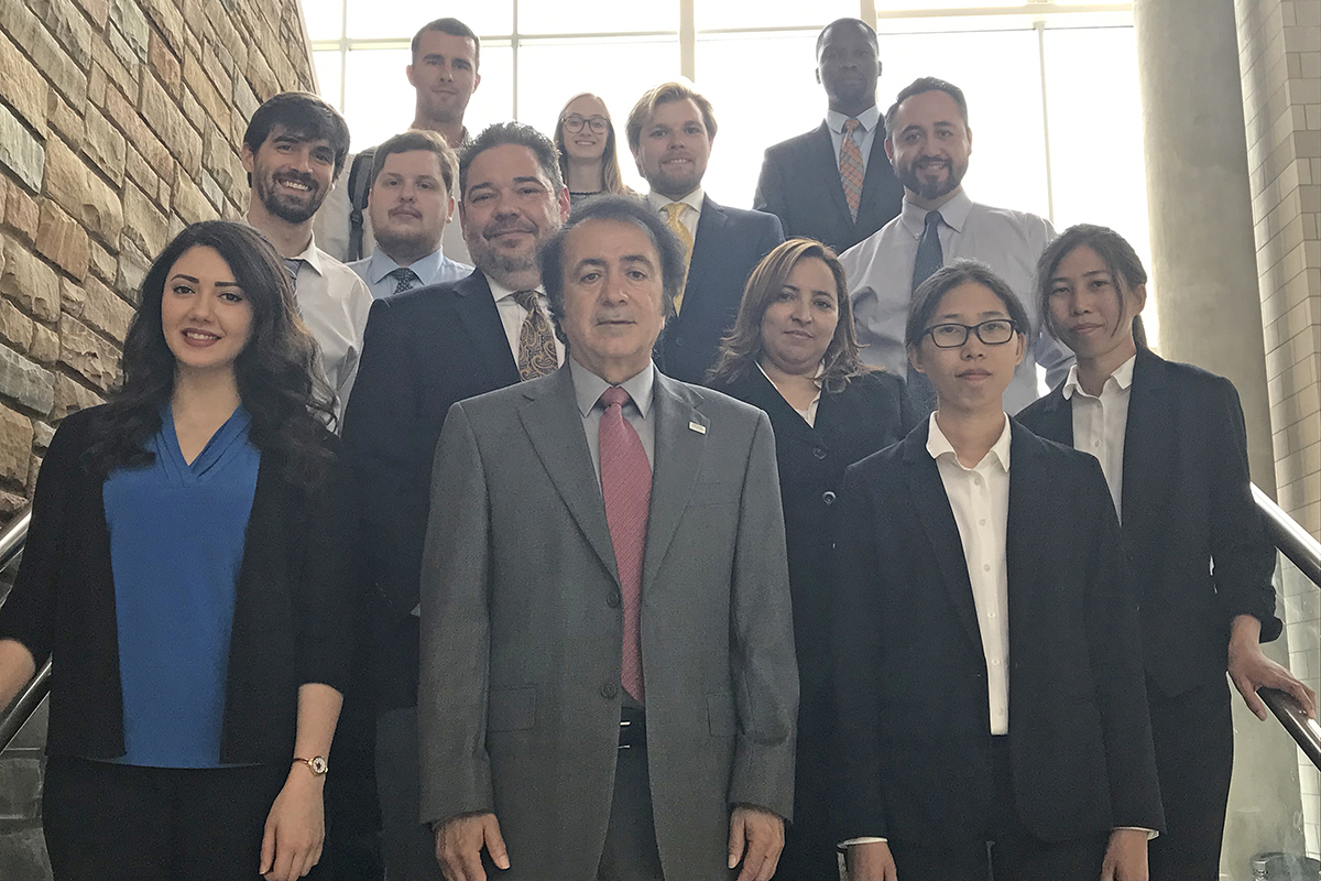 The MTSU Master of Science in Professional Science students who graduated in May are shown with program Director Saeed Foroudastan, center front, and David Butler (behind Foroudastan), dean of the College of Graduate Studies and vice provost for research. The 2019 MSPS program has graduated more than 80 students into the workforce. (MTSU photo by Randy Weiler)