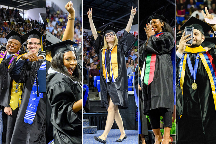 New graduates celebrate at MTSU's summer 2019 commencement ceremony Aug. 10 in Murphy Center. Photos show, from left, two young men with their arms around each other, two photos of young women with their hands in the air, a photo of a young woman clasping her hands together and smiling, and a young man taking a selfie with his other hand in the air. MTSU held its summer 2020 commencement ceremony virtually Aug. 8 because of the pandemic.(MTSU photos by J. Intintoli and GradImages.com)