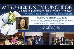 MTSU announces 2020 Unity Luncheon honorees; ticket deadline is Feb. 3