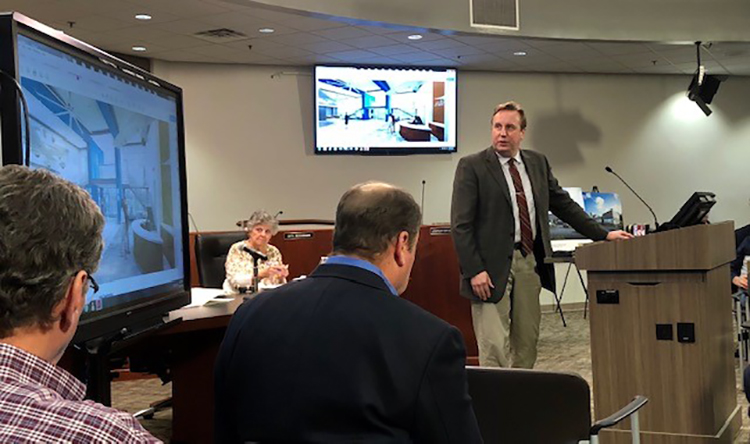 In this December 2018 file photo, Murfreesboro Municipal Airport Director Chad Gehrke gives a presentation on airport renovations to the City Council. (Courtesy of the city of Murfreesboro)
