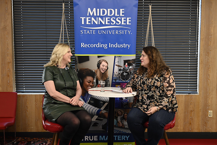 Beverly Keel, left, new dean of the MTSU College of Media and Entertainment, discusses her new role at an alumni outreach brunch held Saturday in advance of the 62nd annual Grammy Awards set for Sunday at Staples Center. (MTSU photo by Andrew Oppmann)