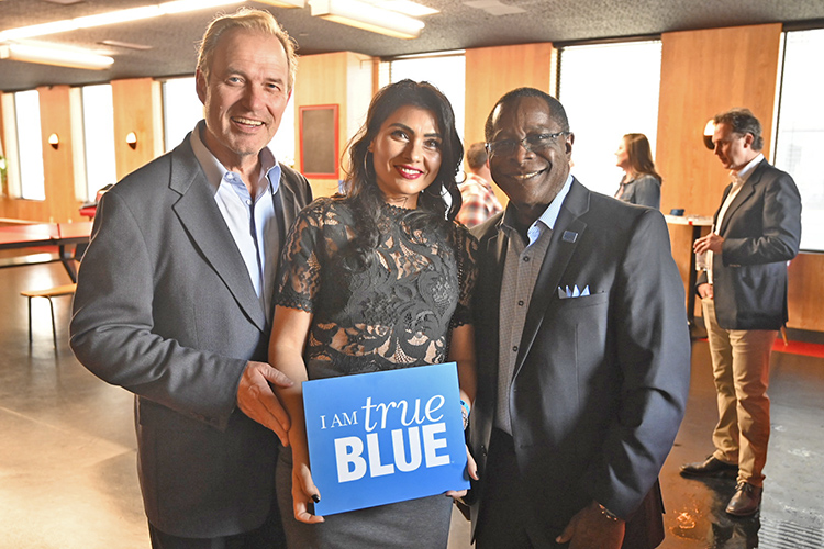 MTSU President Sidney A. McPhee, right, led a delegation of university students, faculty and staff to Los Angeles for outreach activities before the 62nd annual Grammy Awards set for Sunday at Staples Center. This is MTSU's seventh such trip to the event. (MTSU photo by Andrew Oppmann)