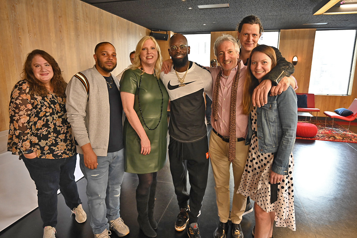 Beverly Keel, third from left, new dean of the MTSU College of Media and Entertainment, poses for a photo during an alumni outreach brunch held Saturday in advance of the 62nd annual Grammy Awards set for Sunday at Staples Center in Los Angeles. (MTSU photo by Andrew Oppmann)